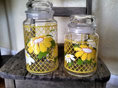 Think Spring!  Cheerful and bright set of vintage Hildi canister jars! by the Toasty Barker Boutique