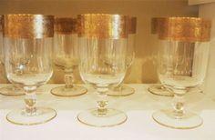 Antique Gold Encrusted Elegant Glass Stemware Wide Band Water Goblets  http://www.ebay.com/itm/110992607955?ssPageName=STRK:MESELX:IT&_trksid=p3984.m1586.l2649