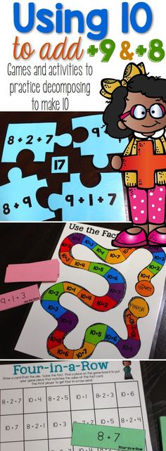 Using 10 to Add is full of games and activities to engage your students in using ten to add +9 and +8 facts. Activities Include: Equal Equations (three different ways to play), Use the Facts Board Game, Four-in-a-Row, Number Puzzles, and Addition Chart Fill-in