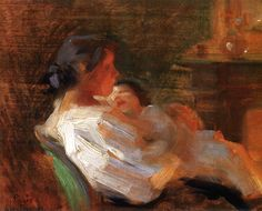 Mother and Child 1895 ~ Laura Muntz Lyall ~ (Canadian : 1860 - Art Gallery Of Alberta, Mother And Child Painting, Figurative Kunst, Impressionist Art, Oil Painting Reproductions, Canadian Artists, Beautiful Artwork, Art History, Paintings