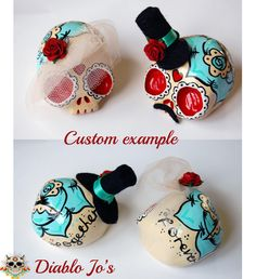 Custom Colours - Wedding Sugar Skull Cake Toppers in Aqua and Red  www.etsy.com/uk/shop/diablojos