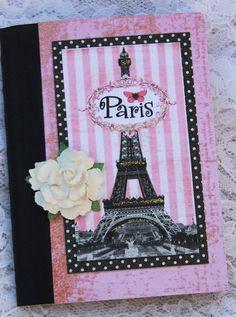 Eiffel Tower Paris Journal Notebook Altered Gift by Small Notebook, Journal Notebook, Altered Composition Notebooks, Composition Books, Decoupage, Craft Show Ideas, Scrapbook Cards, Scrapbooking, Sweet Memories