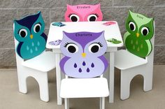 Owl Table and Four Chair Set with Matching by GreatCustomFurniture, $380.00