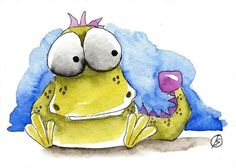 ACEO Original watercolor painting Lucia Stewart whimsical animal Baby Dragon…