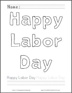 happy labor day coloring page free to print pdf file fun way - Labor Day Coloring Pages Kids