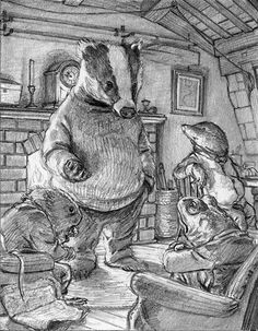 Badger has some stern words for Toad as the four friends formalise a plan to retake . Animal Drawings, Art Drawings, Mushroom Pictures, Chris Dunn, Pastel Art, Children's Book Illustration, Whimsical Art, Cute Art, Painting & Drawing