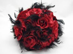 Bridal Wedding Bouquet 12 Roses Red Roses by DarkRoseTreasures, $25.00