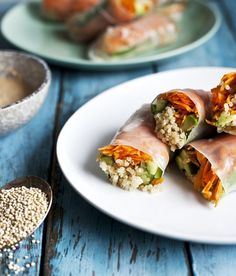 Quinoa Spring Rolls with Spicy Cashew Sauce Recipe