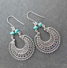 Sterling silver and turquoise stone  metal earrings. Bohemian jewelry. -  - McKee Jewelry Designs - 1