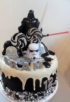 Darth Vader, Storm Trooper alles in een heerlijke Star Wars drip cake