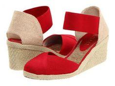 LAUREN Ralph Lauren Charla (Red Elastic) Women's Wedge Shoes