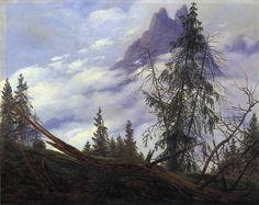 Caspar David Friedrich, Mountain Peak with Drifting Cloud    1835