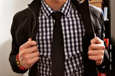 Gingham check and leather!  Works in almost every colour combination (I'm wearing it today!) but is classic in black!