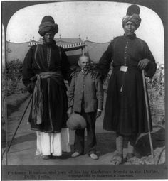 Professor James Ricalton whose passion was travel photography seen here with two of his Kashmiri friends at the Delhi Durbar 1903.