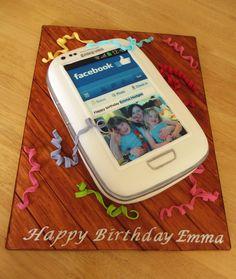 Samsung Galaxy S3 phone cake. Facebook screen.