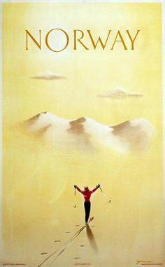 Norway Vintage Ski Poster ☮k☮ Vintage Ski Posters, Vintage Postcards, Vintage Ads, Norway Travel, New Poster, Advertising Poster, Illustrations And Posters, Retro, Skiing
