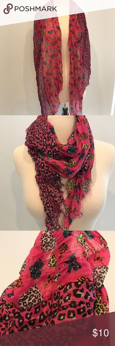 Show your wild side! Beautiful and sassy pink leopard print with hearts scarf! Accessories Scarves & Wraps