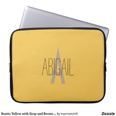 Rustic Yellow with Gray and Brown Monogram Laptop Computer Sleeves