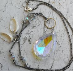 Mermaid Stone Pendant Iridescent Stone Abalone Sea Shells Jewelry necklace by ObscuredOdditiess on Etsy