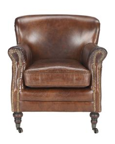 Shop Manchester Leather Arm Chair from Safavieh at Neiman Marcus Last Call, where you'll save as much as on designer fashions. Retro Armchair, Velvet Armchair, Wood Arm Chair, Wing Chair, Arm Chairs, Metal Dining Chairs, Living Room Chairs, Green Room Colors, Leather Recliner Chair