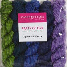 Sweetgeorgia Superwash Worsted Party of Five Mini-Skein Sets Yarn - English Bay