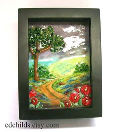 love the fused glass with the scene for above the fp