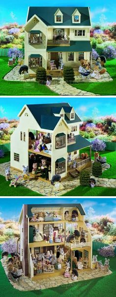 My dream dollhouse. Sylvanian Families House on the Hill. Sylvanian Families House, Sylvania Families, Family World, How To Make Toys, Dollhouse Accessories, Dollhouse Furniture, Miniature Dolls, Play Houses, Childhood Memories