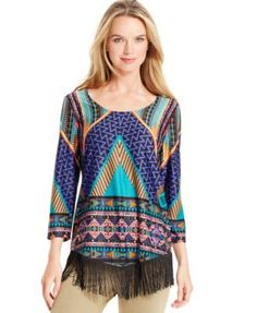NY Collection Multi-Print Fringe-Trim Top