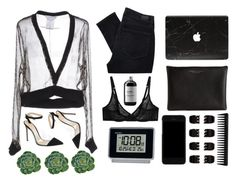 """""""blk"""" by helooksoperfc ❤ liked on Polyvore featuring L'Agent By Agent Provocateur, Givenchy, Paige Denim, Gianvito Rossi, Carven, Dolce&Gabbana, Forever 21, Seiko, GHD and Sort of Coal"""