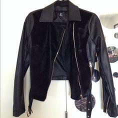 Forever 21 faux leather, with faux fur front! HP!! Never worn Forever 21 faux leather with faux fur front detail. Forever 21 Jackets & Coats