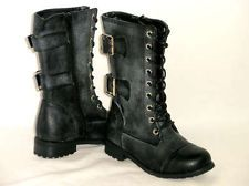 Girls Adjustable *Lace Up 2 Buckle* Combat Military Kids Boots BLACK