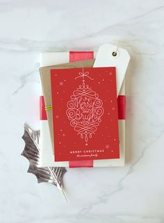 Celebrate the Christmas Holidays with this Merry and Bright Ornament Card from Minted Holiday Collection 2015 - Design by Kelly Schmidt for Minted.com