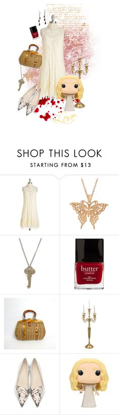 "Edith Cushing ""Crimson Peak"" by lovemakesmonsters on Polyvore featuring Sophia Webster, Allurez, The Giving Keys, Butter London and vintage"
