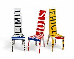 "Three Transit Chairs ""Limit,"" ""Stop,"" and ""Vehicles"". Photo: JW Johnson."