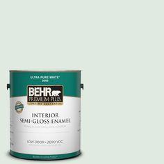BEHR Premium Plus 1-gal. #440E-1 Relaxing Green Zero VOC Semi-Gloss Enamel Interior Paint