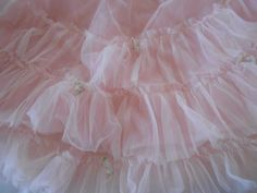vintage sheer pink cotton candy tulle netting chiffon ruffled petticoat slip with millinery flowers by polka dot rose