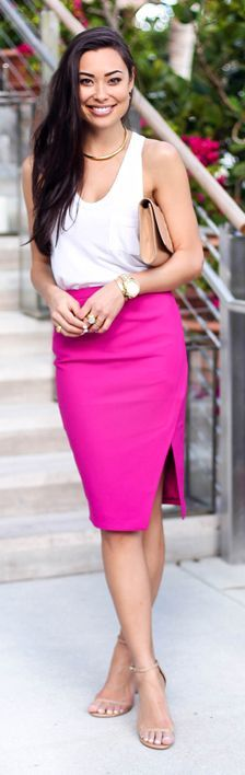 Fuchsia And White Miami's Nights Outfit by With Love From Kat