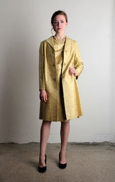 Vintage Dress & Coat . 2 Piece Gold Jacket and Shift by VeraVague
