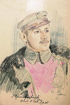 Por. Roman Machnicki, 6. szwadron 2. p.uł., rys. Wincenty Wodzinowski
