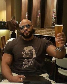 Bald Beard Barbells Beer = Tag him! Fine Black Men, Gorgeous Black Men, Handsome Black Men, Fine Men, Black Love, Beautiful Men, Dark Man, Bald With Beard, Black Men Beards