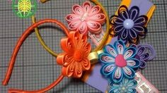 Flor en cinta para accesorios *Margarita / Ribbon flower for accessories *Daisy Ribbon Crafts, Youtube, Bows, Daisy, Bias Tape, Streamer Flowers, Hair Bows, Bias Tape, Tutorials