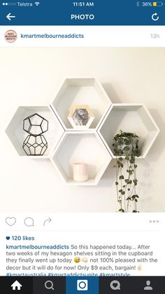 Kmart 2016 - Home - Decoratie Ikea Design, Box Design, Ikea Wall Shelves, Kmart Home, Kmart Decor, Monochrome Bedroom, Hexagon Shelves, Master Bedroom Design, Fashion Room