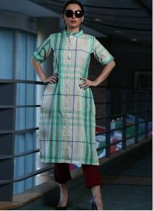 Buy White Thread Work Party Wear Kurti Online Fancy Party, Party Wear, Work Party, Long Cotton Kurti, Sea Green Color, Celebrity Gowns, Printed Kurti, Ethnic Outfits, Latest Sarees