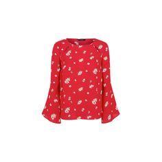 George Floral Print Blouse (1860 RSD) ❤ liked on Polyvore featuring tops, blouses, red, red floral blouse, floral tops, cutout blouse, cut out sleeve top and red blouse