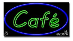 """Cafe Neon Sign - 20"""" x 37""""-ANS1500-1558  37"""" Wide x 20"""" Tall x 3"""" Deep  Flashing Border """"ON/OFF"""" switch  Sign is mounted on an unbreakable black or clear Lexan backing  110 volt U.L. listed transformer fits into a standard outlet  Hanging hardware & chain included  6' Power cord with standard transformer  For indoor use only  1 Year Warranty on electrical components  1 Year Warranty on standard transformers."""