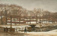 Willem Bastiaan Tholen - Wandelaars op de Witte Brug te Den Haag in de winter
