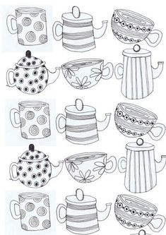 Tea cups and Tea pots Art Print - but could be an idea for embroidery - or applique with spotted, striped and patterned fabric? Tea cups and Tea pots Art Print - but could be an idea for embroidery - or applique with spotted, striped and patterned fabric? Colouring Pages, Coloring Books, Tee Kunst, Sketch Note, Bordados E Cia, Tea Art, Art Plastique, Doodle Art, Art Lessons