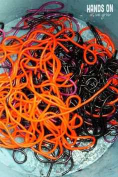 Halloween Spaghetti!! you can eat it or use it for a Slimy Spaghetti Sensory Activity for Toddlers