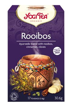 Sweet, warm and sunny, rooibos tea radiates rich African folklore. The addition of traditional YOGI TEA® spices, such as cinnamon, ginger, cardamom, clove and a hint of black pepper brings rooibos's mild, earthy aroma to life, while carob and vanilla round out this sweet, friendly tea.  The essence of this tea is: 'Rising from the embrace of Mother Earth'.