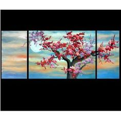 Chinese Cherry Blossom Feng Shui Oil Paintings Abstract Art